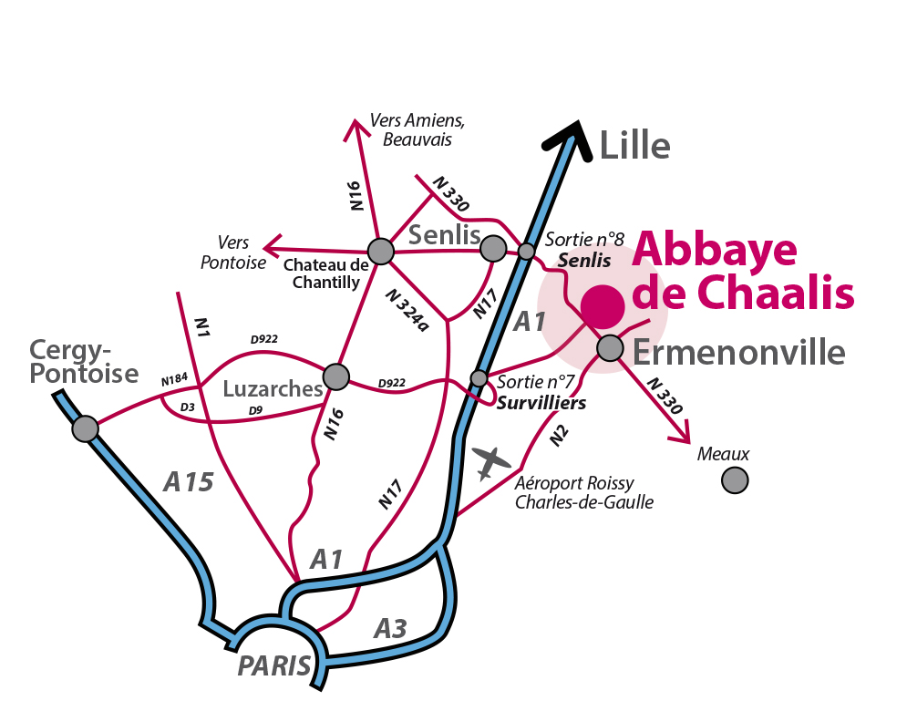 Plan d'accès à l'Abbaye de Chaalis